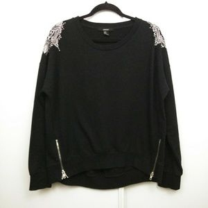 Forever 21 | Black Pullover Embroidery w/ Zippers